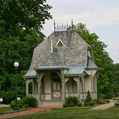 A Queen Anne style playhouse, built in 1885, was designed by architect Lucas Pfeiffenberger.