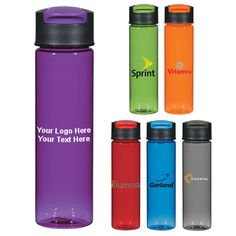 "24 Oz Promotional Breeze Bottle - 6 Colors: Available Colors: Translucent: Blue, Charcoal, Green, Orange, Purple, Red. Product Size: 9 3/4"" H. Imprint Area: 3"" W x 4"" H. Carton Weight: 11 lbs. Packaging: 24. Material: BPA free Tritan material. #customwaterbottle #promotionalproduct #drinkware #breezebottle"