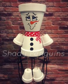 Excited to share this item from my shop: Snowman Flower Pot /flower pot/ indoor decor/ outdoor decor/ garden statue/ christmas decor/ christmas/ flower pot people/ clay pot people Flower Pot Art, Flower Pot Design, Clay Flower Pots, Flower Pot Crafts, Clay Pot Projects, Clay Pot Crafts, Diy Crafts, Shell Crafts, Flower Pot People