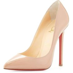 Christian Louboutin Pigalle Patent Leather Red Sole Pump (€565) ❤ liked on Polyvore featuring shoes, pumps, heels, scarpe, beige, shoes pumps, low pumps, christian louboutin pumps, pointy-toe pumps and low heel pumps