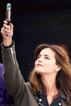Doctor Who behind-the-scenes pictures : Jenna Coleman wields the sonic screwdriver in these exciting new shots from the set - Wales Online Jenna Coleman, Doctor Who Series 8, Doctor Who Companions, Sonic Screwdriver, Clara Oswald, Eleventh Doctor, Torchwood, Matt Smith, David Tennant
