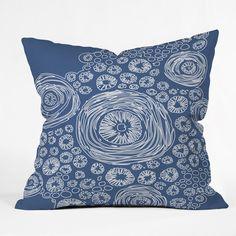 Julia Da Rocha Bluflower Throw Pillow #blue #circle #pattern