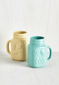 Brew of a Kind Mug Set. Prove tea and coffee go together like two glugs in a mug when you display these matching masons for brunch with your bestie! #multi #modcloth