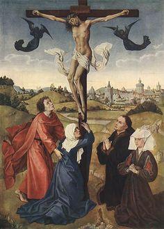 Crucifixion Triptych: central panel by Rogier van der Weyden #art