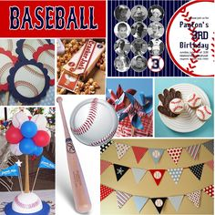 baseball party balloon centerpiece | Banner { Parties by Hardie } Invitations { Dimple Prints - etsy }