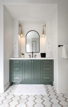 Forest green vanity and statement brass pendants bring drama to this bathroom. #brassdecor #green #diy #bathroom Upstairs Bathrooms, Downstairs Bathroom, Bathroom Renos, Small Bathroom, Bathroom Renovations, Green Bathrooms, Boy Bathroom, Black Vanity Bathroom, Brass Bathroom