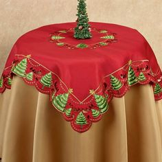 The O' Christmas Tree Table Topper features a cutwork design made individually by hand. A scalloped edge with openwork designs accents the various sizes. Christmas Tree On Table, Holiday Tables, Rustic Christmas, Retro Christmas Decorations, Holiday Decor, Seat Covers For Chairs, Tree Table, Cutwork, Table Toppers