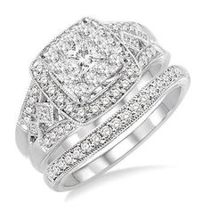 Vintage Round and Square Cut Wedding Set with Princess Center - Wide Band