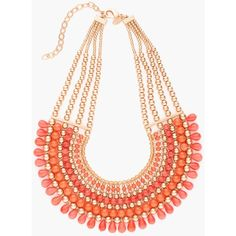 Chico's Tay Bib Necklace (205 BRL) ❤ liked on Polyvore featuring jewelry, necklaces, coral, bead necklace, chicos jewelry, bib necklace, beaded jewelry and chicos necklaces