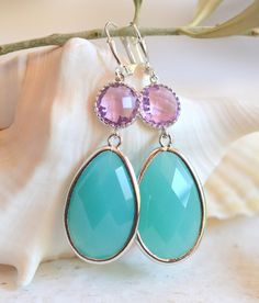 Large Turquoise and Lavender Jewel Statement Earrings by RusticGem