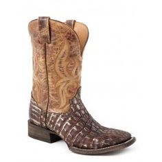 Stetson Cowboy Boots Mens Brown Caiman Gator Distressed Brown Shaft Square Toe