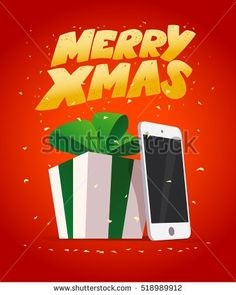 Vector flat happy new year and merry christmas tablet and smartphone present, gift box illustration. Cartoon style. Winter sale banner design element isolated.