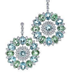 Aquamarine and Tourmaline Kaleidoscope earrings