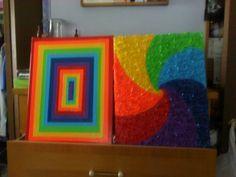 Duck tape art. The second made by scrunching up the tape before adhering to canvas.