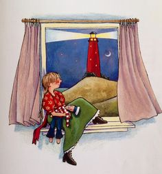 Illustratie Annette Fienieg, uit het boek 'De vuurtoren' van Koos Meinderts.