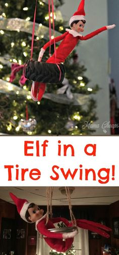 Elf in a tire swing! Use a mason jar ring or a tire from a toy truck!! LOTS more elf ideas: https://www.mamacheaps.com/elf-on-the-shelf-ideas