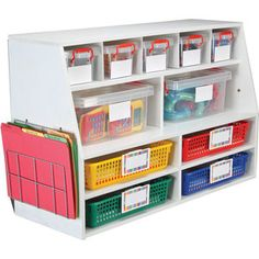 Really Good Classroom Organizing Center™ With Bins And Wire Works™ Paper Holders Sewing Room Organization, Classroom Organisation, Teacher Organization, Organizing, Classroom Management, Organized Teacher, Teaching Supplies, Classroom Supplies, Teaching Ideas