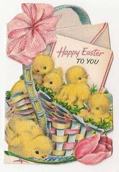 Vintage Greeting Card Easter Die Cut Cute Basket Flocked Chicks Hallmark as Is | eBay
