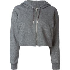 Golden Goose Deluxe Brand Cropped Zipped Hoodie (€210) ❤ liked on Polyvore featuring tops, hoodies, jackets, outerwear, sweaters, grey, zipper hoodie, zip hoodie, gray hooded sweatshirt and grey zip hoodie