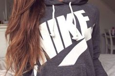 sweater nike shirt pullover sweatshirt grey whitr brown hairs jacket girl crewneck nike sweater