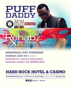 Puff Daddy Hosts Rehab Hard Rock Las Vegas Pool party! Memorial Day Weekend 2014