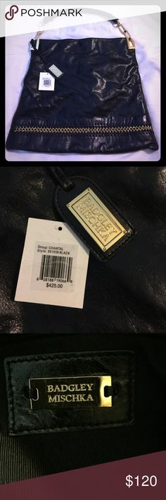 Badgley Mischka black leather bag Badgley Mischka Chantal black bag. In excellent condition. Comes with original dust bag and tag from purchase. Badgley Mischka Bags Hobos