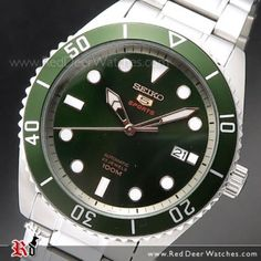 Seiko 5 Automatic Green Dial Stainless Steel Men Watch SRPB93K1, SRPB93 Seiko Automatic, Automatic Watch, Sport Watches, Watches For Men, Seiko 5 Watches, Best Looking Watches, Seiko Presage, Sport 10, Stainless Steel