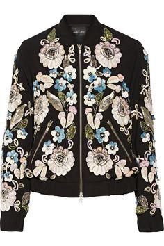 Needle & Thread | Oriental Garden embellished crepe bomber jacket | NET-A-PORTER.COM
