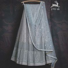 Dusty blue thread work sequin Lehenga with baby blue badla dupatta and matching thread work sequin blouse Party Wear Indian Dresses, Indian Bridal Outfits, Indian Gowns Dresses, Indian Bridal Fashion, Dress Indian Style, Half Saree Lehenga, Blue Lehenga, Indian Lehenga, Silk Lehenga