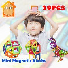 Minitudou 미니 자기 디자이너 세트 29 개 3d 자기 건설 건물 장난감 교육 diy 벽돌 장난감