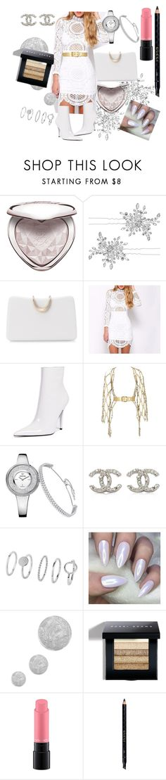 """""""Winter white"""" by ensiasubhani ❤ liked on Polyvore featuring Too Faced Cosmetics, Matthew Williamson, SOKO, Jeffrey Campbell, Zana Bayne, Chanel, Topshop, Bobbi Brown Cosmetics, MAC Cosmetics and Gucci"""