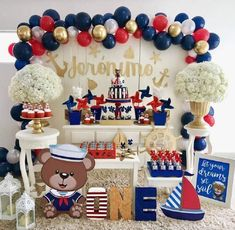Lindíssima festa com o tema Ursinho Marinheiro! Baby Shower Cakes For Boys, Boy Baby Shower Themes, Baby Shower Parties, Baby Boy Shower, Baby Shower Decorations, Sailor Theme Baby Shower, Sailor Birthday, 1st Boy Birthday, Boy Birthday Parties