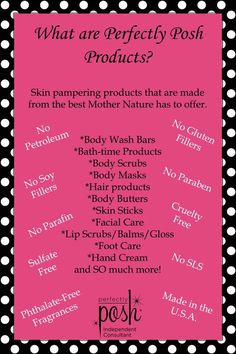 Haven't heard of Perfectly Posh? Perfectly Posh is a line of natural based pampering products free of parabens, petroleum derived ingredients, no soy or gluten fillers, made in the USA and cruelty free. I do in home spa nights to pamper you and your frien Avon Products, Posh Products, Beauty Products, What Is Posh, Posh Love, Perfectly Posh, Etude House, No Lips, Tags