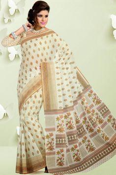Beige Yellow Cotton Printed Casual and Party Saree Sku Code:68-4398SA203085 $ 22.00