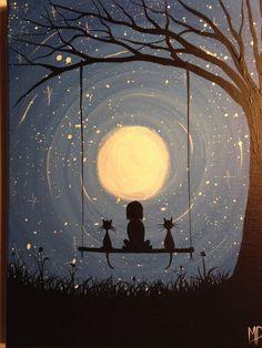 #картина #живопись #луна #силуэт #мечта #кошки #качели #акрил