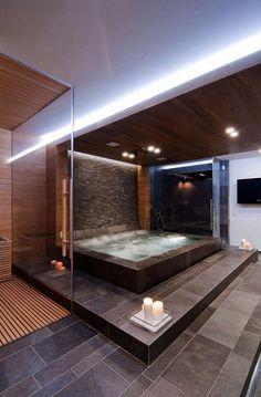 luxurious bathroom with a jacuzzi Jacuzzi Tub Decor, Jacuzzi Bathroom, Mold In Bathroom, Bathroom Ideas, Small Bathroom, Indoor Jacuzzi, Bathtub Ideas, Bathroom Toilets, Bath Tub