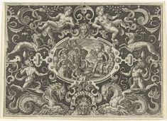 Cartouche: Perseus toont zijn Medusaschild aan Phineus, Abraham de Bruyn, 1584