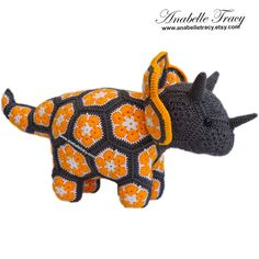 Triceratops Floral Stuffed Animal Doll Unique by anabelletracy