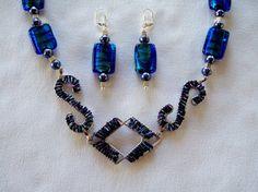 Bib Pendant, Geometric, Necklace, Unique, OOAK, Dichroic Glass, Wire Work, Hand Beaded, Blue, S Shape, Diamond Shape, Earrings, by #JewelrybyIshi, $58.50