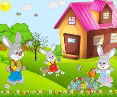 A kerek erdőben áll egy takaros házikó, mellette áll egy tojásfestő műhely. A ház körül egy óriási zöldséges kert terül el.- Nos? Kitalálod kik laknak ebben a házikóban?- Igen. Egy nyuszi család lakik benne. Nyuszi apu, Nyuszi