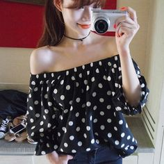 8b80c38acbeefa Korean Women Sexy Off Shoulder Polka Dot Long Sleeve Casual Tops Blouse.  STYLE hyle