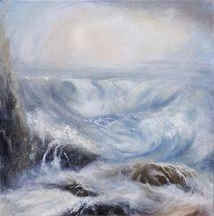 Tumultuous Serenity - Wembury beach 60x60cm oil on canvas
