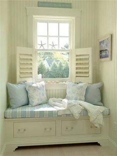 Beautiful Coastal Cottage Reading Nook.                                                                                                                                                                                 More #coastalcottagehomes