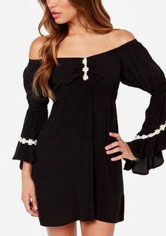 Women's daisy printing decoration boat neck leak shoulder long sleeve chiffon dresses online - vessos.com