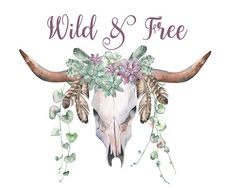 Wild and Free printable art print skull by Whizzprints on Etsy