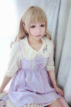 Fly Sleeves Lacing Light Violet Maid Dress  One size: Bust 90 --94 cm, Waist 68--92 cm, Dress Length 80 cm