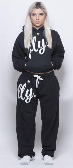 FLY. Black Hoodie/Black Pants Sweatsuit (UNISEX FIT)