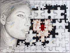 """Elisa Fantinato - """" FEEL """" Solo attraverso la comprensione e l'ascolto si può' trovare il tassello mancante  Correntefigurativo Genere pittura Tecnica tecnica mista Dimensioni 80X60 CM #arte #artisti"""