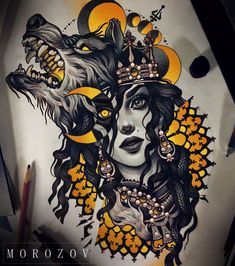 That inverted eye is fucking KILLING me!~ The style, the color--the SHADING~ This is definitely gonna be a tattoo someday #WolfTattooIdeas