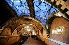 City Hall Subway Station New York, New York An architectural gem in New York City, hop on the 6 train and stay on past the Brooklyn Bridge stop. As the train loops around you'll pass by gorgeously decorated arches, skylights, intricate colored glass tilework, and burnished brass light fixtures in the now-unused City Hall station. The station was opened in 1904 and was meant to be the crown jewel of the new subway. the station was closed in 1945. The  abandoned beauty is well worth it.